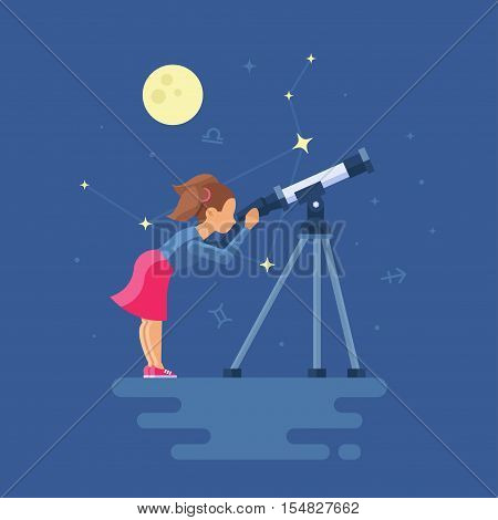 Vector illustration of girl looking through a telescope watching the stars. Clipart of Libra on the night city. Trend modern flat pseudo volume style. Moon and Zodiac signs.