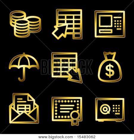 Gold luxury banking web icons V2