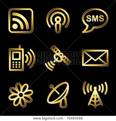 Gold luxury communication web icons V2
