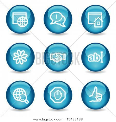 Internet communication web icons, blue glossy sphere series