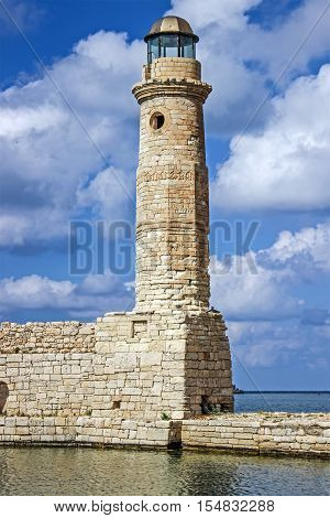 Lighthouse in a summer day. Rethymnon Greece.
