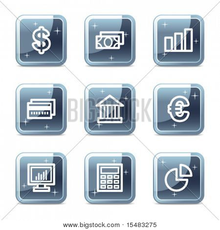 Finance web icons, square blue mineral buttons series