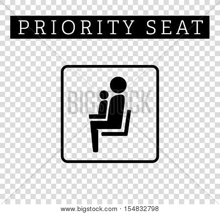 Mom or mother with child sign. Priority seating for customers, special place icon isolated on background. Vector illustration flat style.