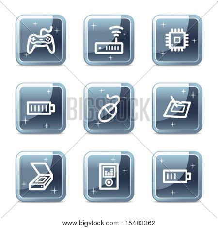 Electronics web icons, square blue mineral buttons series set 2