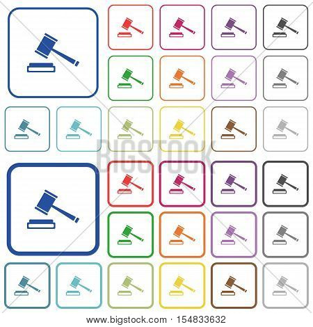 Auction hammer color icons in flat rounded square frames. Thin and thick versions included.