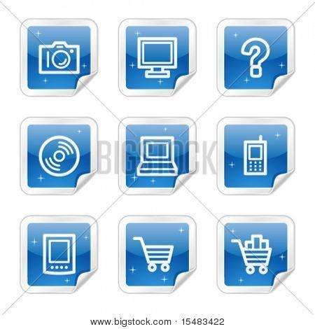 Electronics web icons, blue glossy sticker series