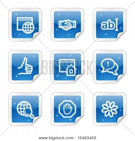 Internet communication web icons, blue glossy sticker series