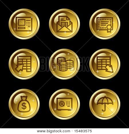 Banking web icons, gold glossy buttons series