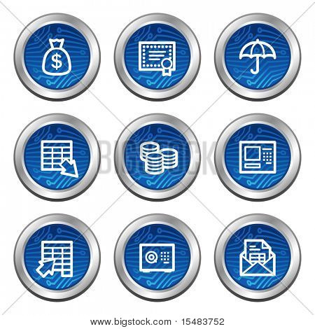 Banking web icons, blue electronics buttons series