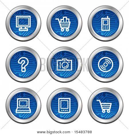 Electronics web icons, blue electronics buttons series