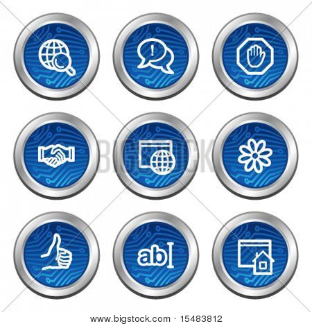 Internet communication web icons, blue electronics buttons series