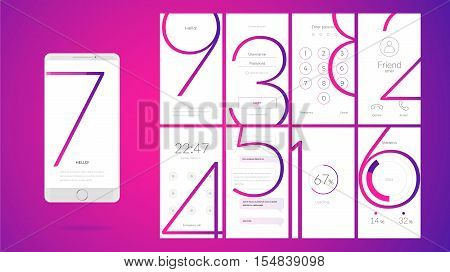 Modern UI GUI screen vector design for mobile app with UX and flat web icons. Wireframe kit for Lock Screen Login page Enter Passcode User call Application Loading Text Messages and Stats Chart.