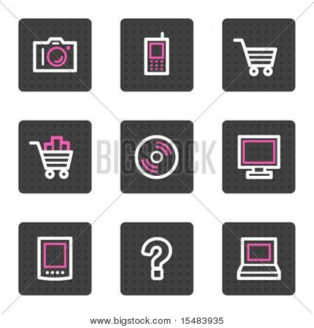 Electronics web icons, grey square buttons series