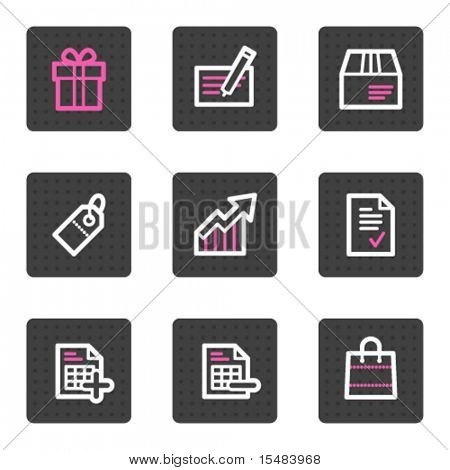 Shopping web icons, grey square buttons series