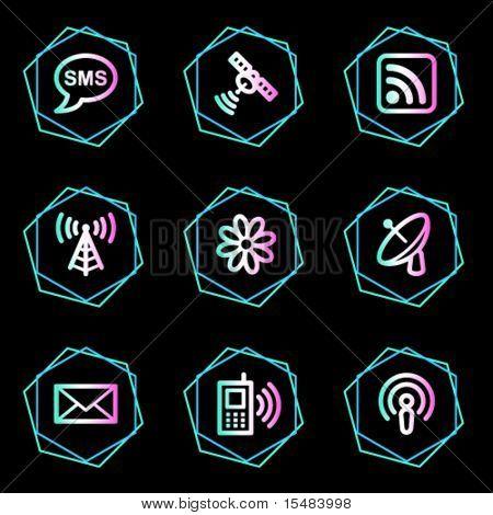 Communication web icons, neon contour series