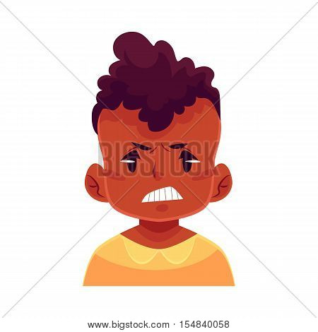 Little boy face, angry facial expression, cartoon vector illustrations isolated on white background. black male kid emoji face, feeling distresses, frustrated, sullen, upset. Angry face expression