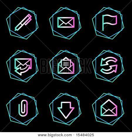 E-mail web icons, neon contour series
