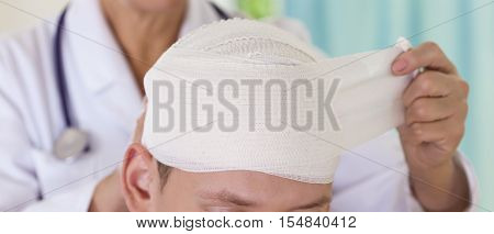 the dressing on the patient's head doctor