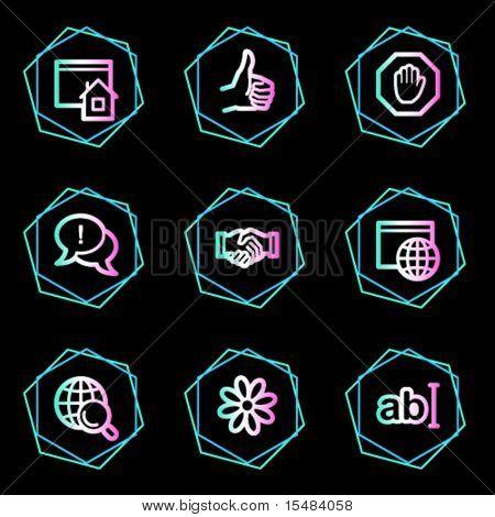 Internet web icons, neon contour series