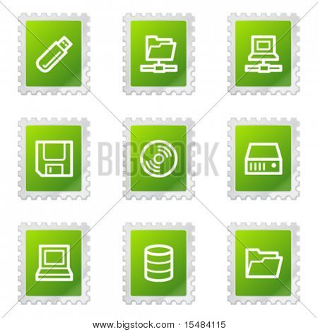 Drives and storage web icons, green stamp series