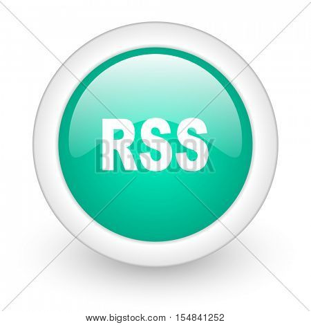rss round glossy web icon on white background