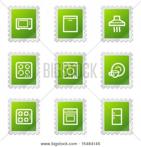 Home appliances web icons, green stamp series