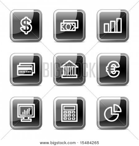 Finance web icons, black square glossy buttons series