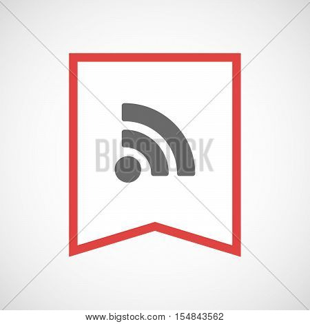 Isolated Line Art Ribbon Icon With An Rss Sign