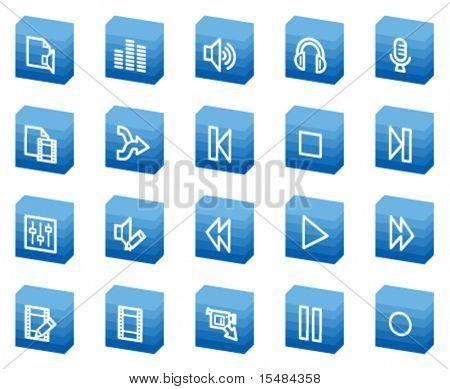 Audio video editar iconos de la web, serie de la caja azul
