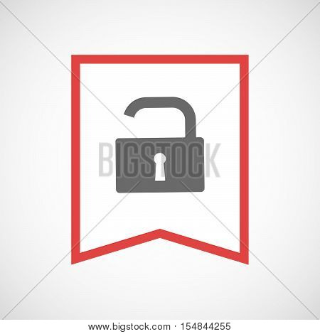 Isolated Line Art Ribbon Icon With An Open Lock Pad