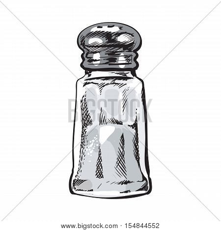 Hand drawn salt mill, shaker, grinder, sketch style vector illustration isolated on white background. Drawing of salt grinder, shaker or mill, side view, colorful illustration