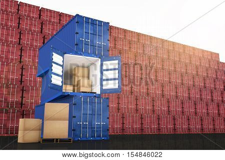 3D rendering : illustration of stacked blue container with cardboard boxes inside the container against red container wall in background business export import concept.