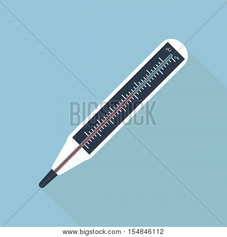 Medical Thermometer Or Thermometer Icon On Flat Style.