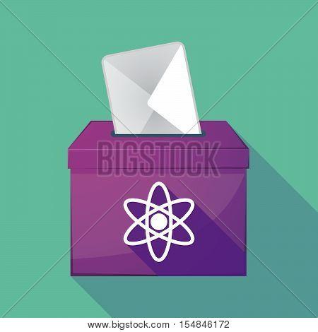 Long Shadow Coloured Ballot Box Icon With An Atom