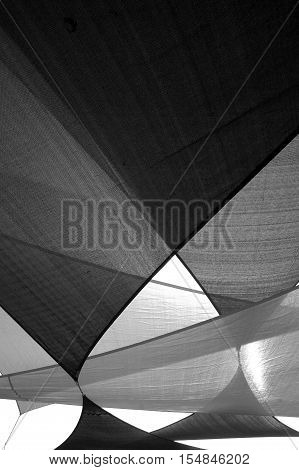 Abstract background tensile roof composition in black and white