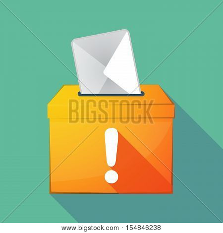 Long Shadow Coloured Ballot Box Icon With An Exclamarion Sign