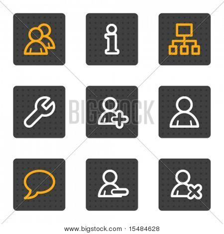 Users web icons, grey buttons series