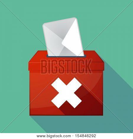 Long Shadow Coloured Ballot Box Icon With An X Sign