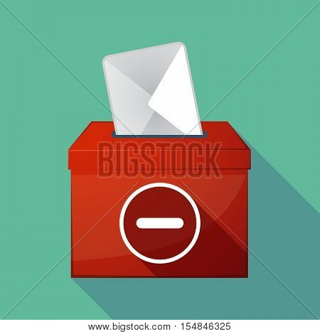 Long Shadow Coloured Ballot Box Icon With A Subtraction Sign