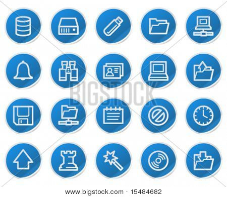 Server web icons, blue sticker series