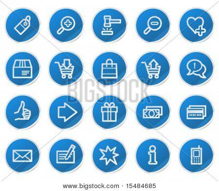 Los iconos de la web de compras, azul serie de la etiqueta engomada