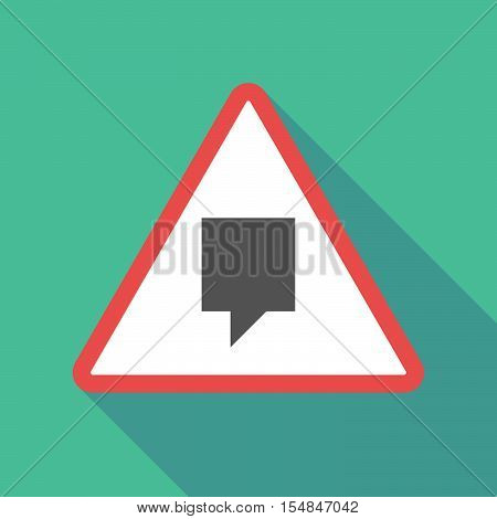 Long Shadow Triangular Warning Sign Icon With A Tooltip