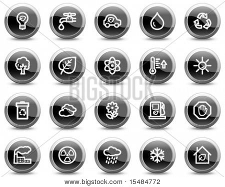 Ecology web icons, black glossy circle buttons series