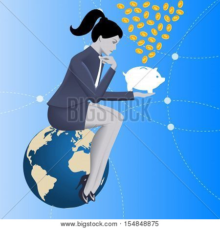 Fundraising business concept. Pensive business woman in business suit sits on top of cloud with piggy bank in her hand under rain of coins. Attracting investments crowdfunding fundraising concepts