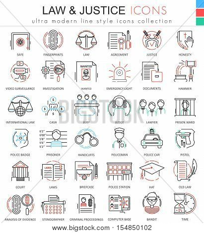 Vector Law and justice ultra modern color outline line icons for apps and web design