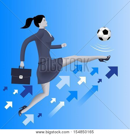 Put the ball in the game business concept. Confident business woman in business suit with case kicks soccer ball up to the sky. Concept of starting new business. startup or contract.