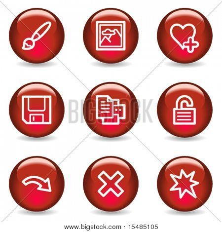 Image viewer web icons set 2, red glossy series