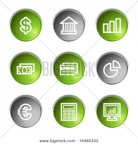 Finance web icons, green and grey circle buttons series