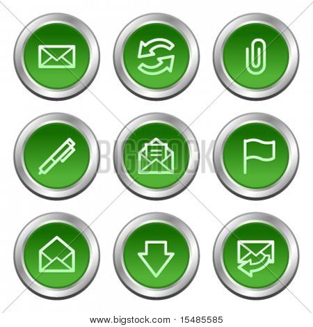 E-mail web icons, green circle buttons series