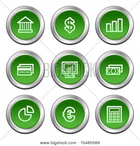 Finance web icons, green circle buttons series